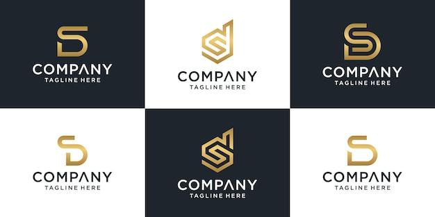 Ensemble de modèle abstrait créatif monogramme lettre ds logo or.