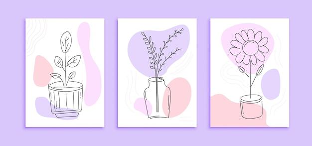 Ensemble de modèle d'affiche de fleurs art ligne moderne. mur de décoration abstraite avec concept de design minimaliste couleur pastel
