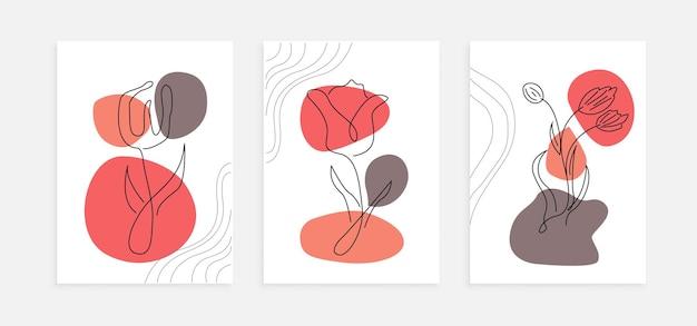 Ensemble de modèle d'affiche de fleurs de tulipe art ligne moderne. mur de décoration abstraite avec concept de design minimaliste couleur pastel