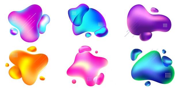 Ensemble de modèle de badge liquide abstrait