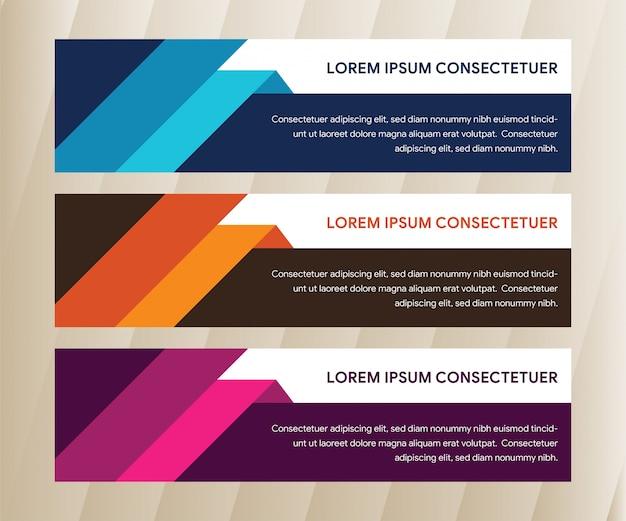 Ensemble de modèle de bannière d'entreprise moderne. conception de bannière horizontale orange, violet et bleu.