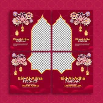 Ensemble de modèle de bannière de festival islamique avec fond de lanterne. adapté aux publications sur les réseaux sociaux et aux publicités internet.