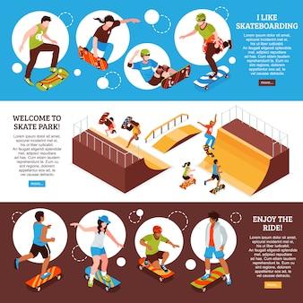 Ensemble de modèle de bannière de planche à roulettes isométrique avec des informations de texte modifiables sur l'activité sportive de planche à roulettes et des images vector illustration