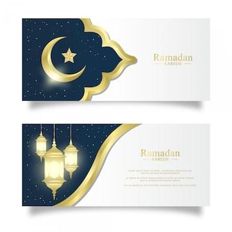 Ensemble de modèle de bannière de ramadhan