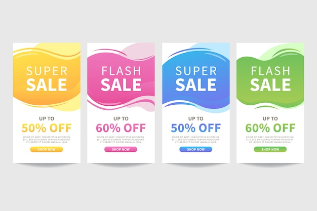 Ensemble de modèle de bannière de vente abstraite liquide coloré