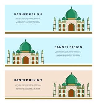 Ensemble de modèle de bannières avec un design islamique