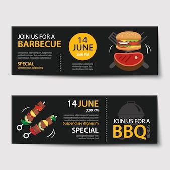 Ensemble de modèle de barbecue invitation partie
