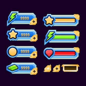Ensemble de modèle de barre de panneau de cadre d'interface utilisateur de jeu de diamant d'or pour les éléments d'actif gui