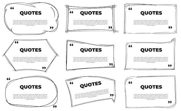 Ensemble de modèle de boîte de citations dessinées à la main
