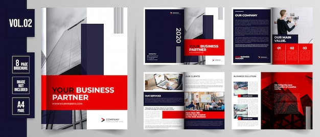 Ensemble de modèle de brochure d'entreprise de page