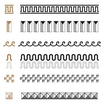 Ensemble de modèle de cadres de bordures de constructeur d'ornement sans soudure grec ancien. collection d'ornements traditionnels vintage sans soudure. de grèce