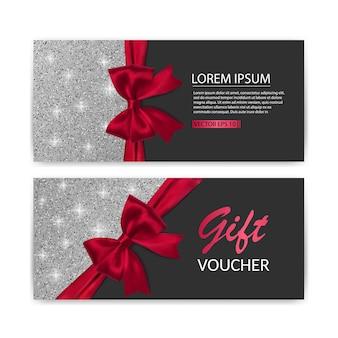 Ensemble de modèle de carte de bon cadeau, vente. modèle avec texture de paillettes et illustration d'arc réaliste