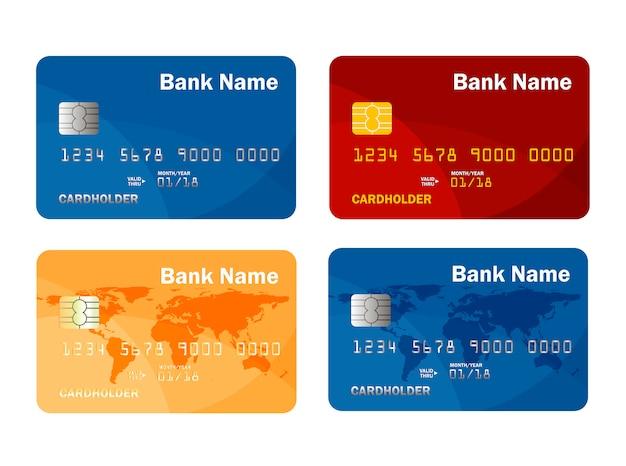 Ensemble de modèle de carte de crédit ou de débit. paiement en ligne. retrait d'espèces. illustration.