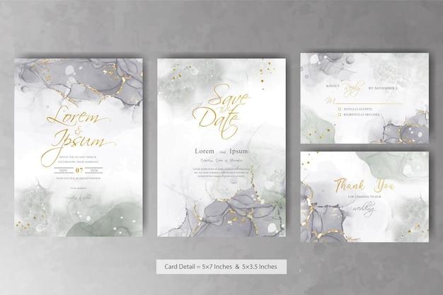 Ensemble de modèle de carte d'invitation de mariage abstrait avec la conception de peinture d'art fluide