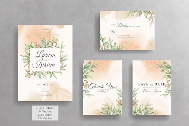 Ensemble de modèle de carte d'invitation de mariage cadre floral verdure avec floral dessiné à la main aquarelle