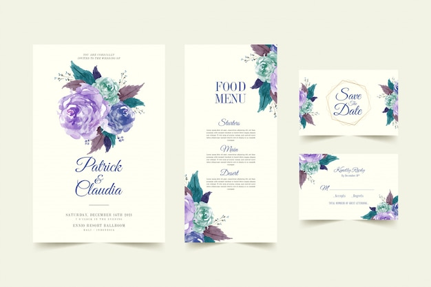 Ensemble de modèle de carte d'invitation de mariage floral avec fleur rose et feuilles vecteur premium