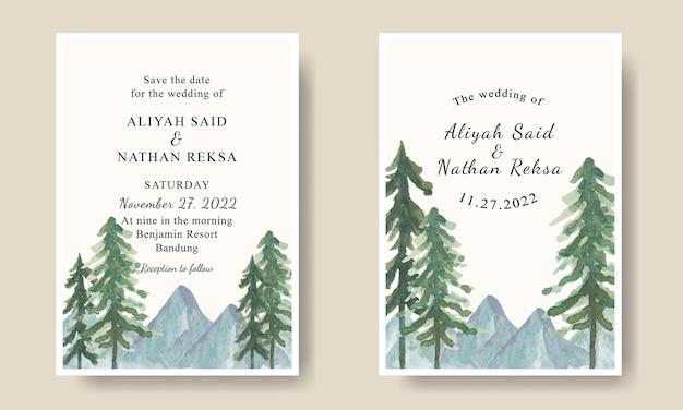 Ensemble de modèle de carte d'invitation de mariage avec fond de paysage d'arbres de montagne aquarelle