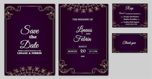 Ensemble de modèle de carte d'invitation de mariage de luxe