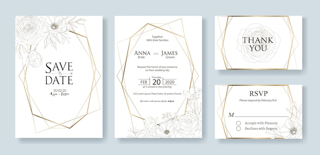 Ensemble de modèle de carte d'invitation de mariage. une rose.