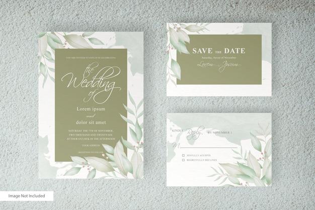 Ensemble de modèle de carte d & # 39; invitation de mariage de verdure