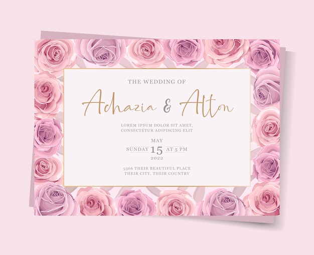 Ensemble de modèle de carte de mariage élégant avec décoration florale dessinée à la main