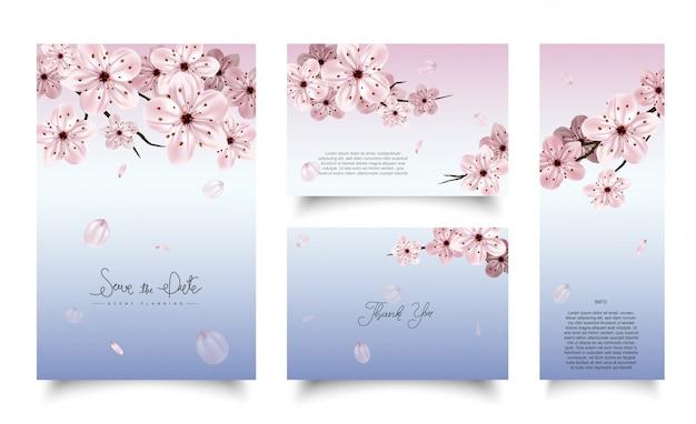 Ensemble De Modèle De Cartes à La Fleur De Cerisier. Vecteur Premium
