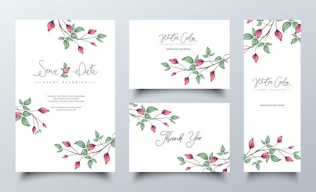 Ensemble de modèle de cartes d'invitation floral