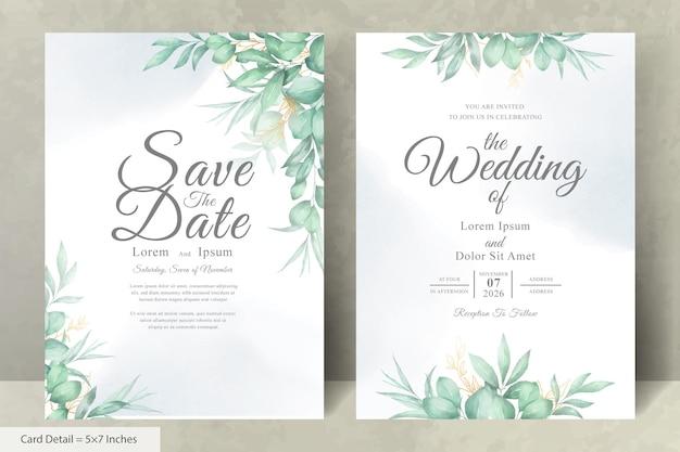 Ensemble de modèle de cartes d'invitation de mariage élégant avec floral dessiné à la main aquarelle