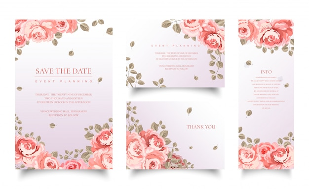 Ensemble De Modèle De Cartes Invitation Rose Rose Vecteur Premium