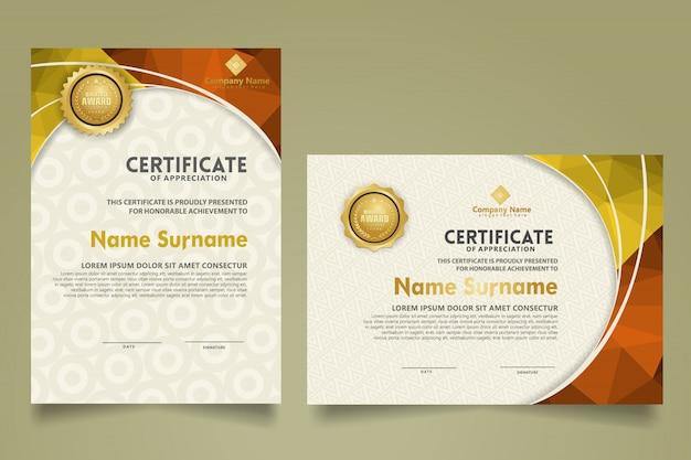 Ensemble de modèle de certificat moderne avec dessin abstrait