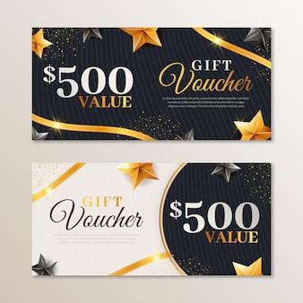Ensemble de modèle de chèques-cadeaux dorés