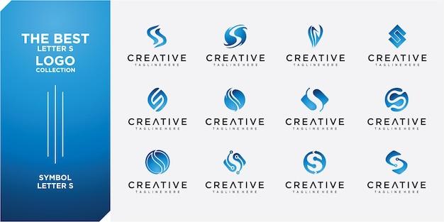 Ensemble de modèle de collection de logo lettre s. ensemble de collection de logos de lettre s avec concept créatif d'or
