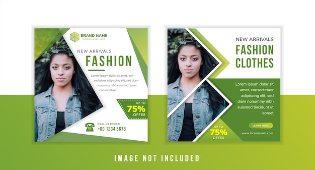 Ensemble de modèle de conception de bannière de publication de médias sociaux pour les nouveaux vêtements de mode tendance avec forme de triangle pour photo. fond vert et blanc. disposition carrée.
