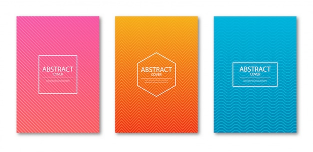 Ensemble de modèle de conception de couverture avec des lignes abstraites dégradé de couleur moderne