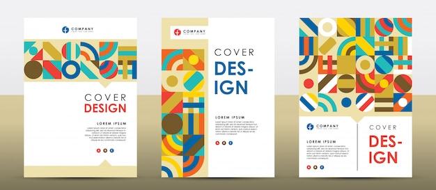 Ensemble de modèle de conception de couverture rétro colorée