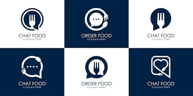 Ensemble de modèle de conception d'illustration vectorielle logo food talk, ou commande de bulles de nourriture ou de discussion avec une fourchette
