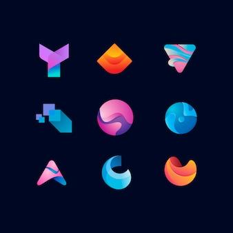 Ensemble de modèle de conception de logo abstrait coloré moderne