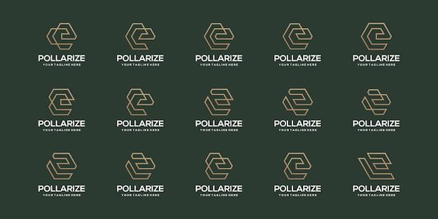 Ensemble de modèle de conception de logo abstrait lettre initiale e. icônes pour les entreprises d'élégant, simple.