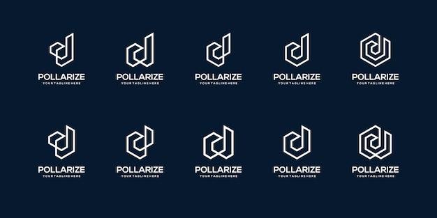 Ensemble de modèle de conception de logo abstrait lettre initiale d. icônes pour les entreprises de construction, construction