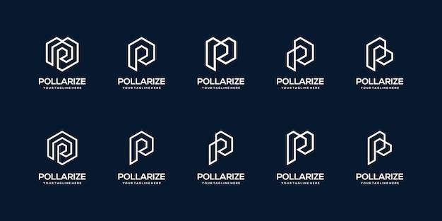 Ensemble de modèle de conception de logo abstrait lettre initiale p. icônes pour les affaires de l'architecte, de la technologie.