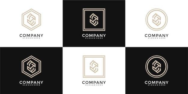 Ensemble de modèle de conception de logo abstrait monogramme lettre h