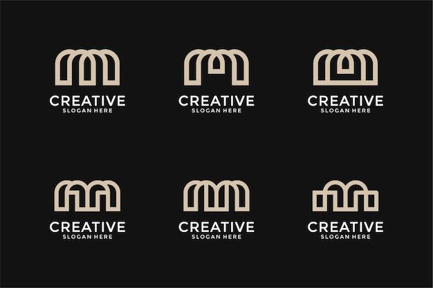 Ensemble de modèle de conception de logo abstrait monogramme lettre initiale h