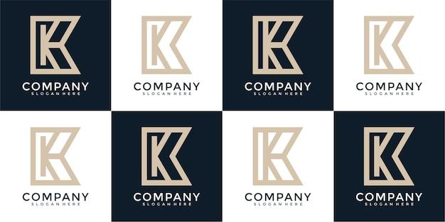 Ensemble de modèle de conception de logo abstrait monogramme lettre initiale k