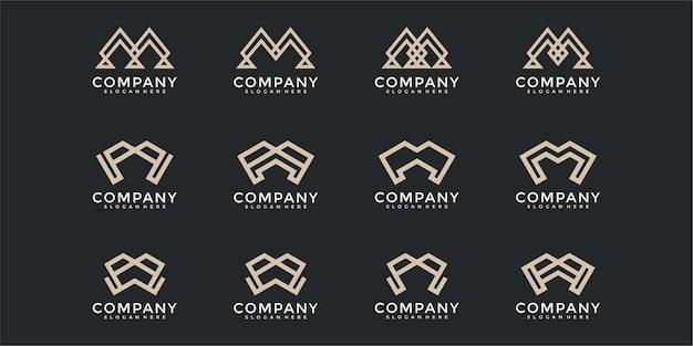 Ensemble de modèle de conception de logo abstrait monogramme lettre initiale m