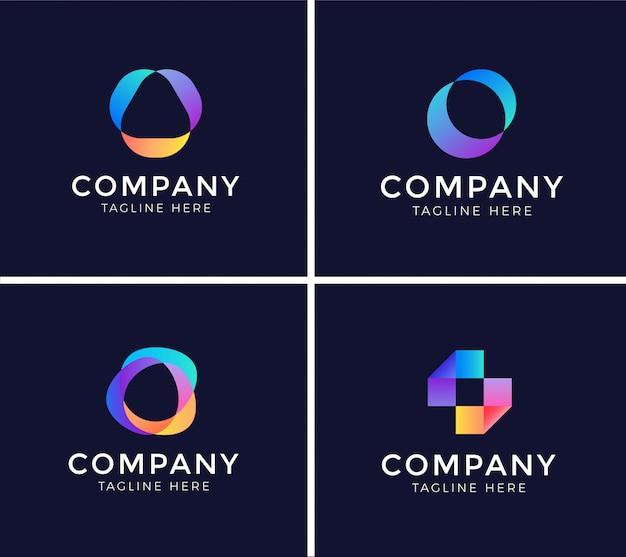 Ensemble de modèle de conception de logo abstrait