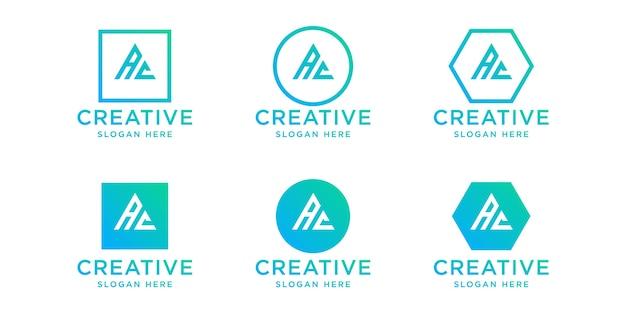 Ensemble de modèle de conception de logo ac initiales