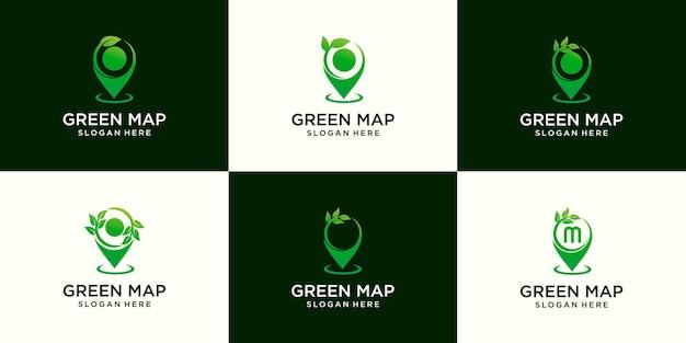 Ensemble de modèle de conception de logo d'agriculture de pousse de feuille de carte d'épingle
