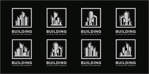 Ensemble de modèle de conception de logo de bâtiment génial