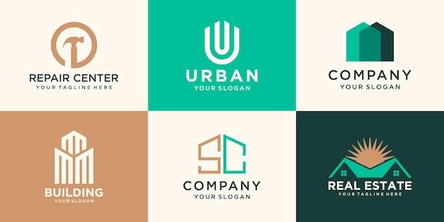 Ensemble de modèle de conception de logo de bâtiment et de maison