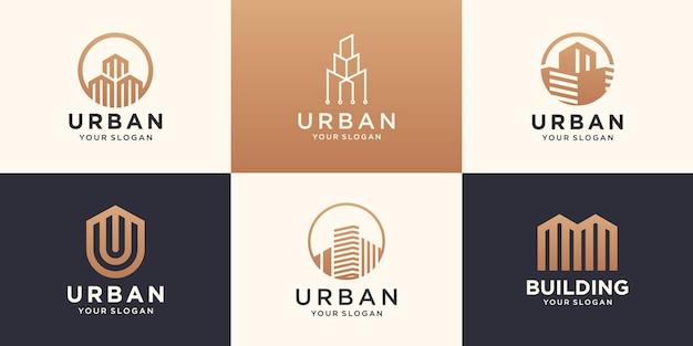 Ensemble de modèle de conception de logo de bâtiment